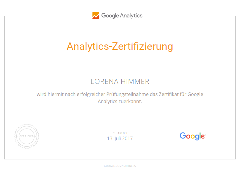Google Analytics Zertifikat